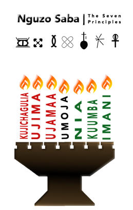 Kinara with the principles in place of candlesticks